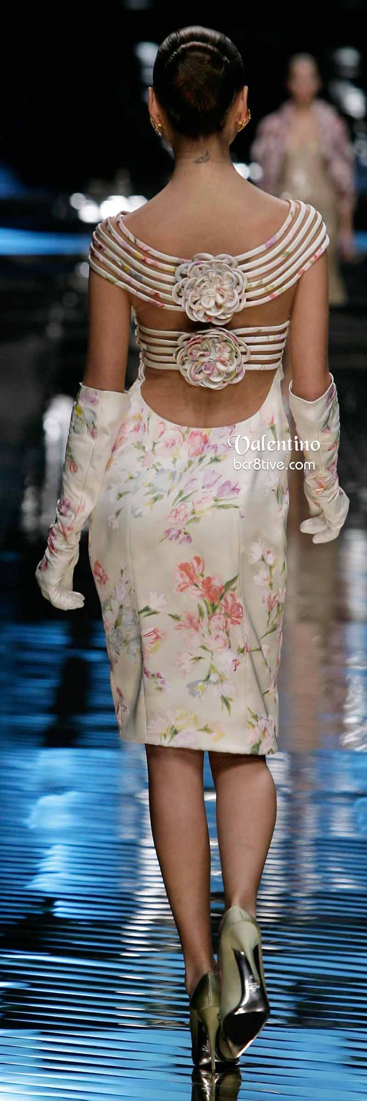 Valentino Super Pretty Floral Cocktail Dress and Long Gloves