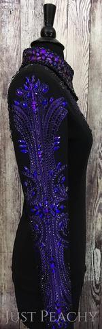 Black and Heliotrope Purple Horsemanship Shirt by KLS Designs ~ Ladies XS/Small