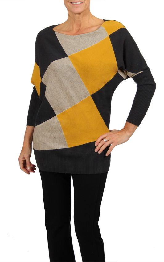 Harlequin Color Block Sweater- This mustard, black and grey color block piece is now available at a store near you! You can also find it online (in Canada only) at shop.cartise.com.  #Cartise #colorblock #sweater #coloryourlife #fallfashion