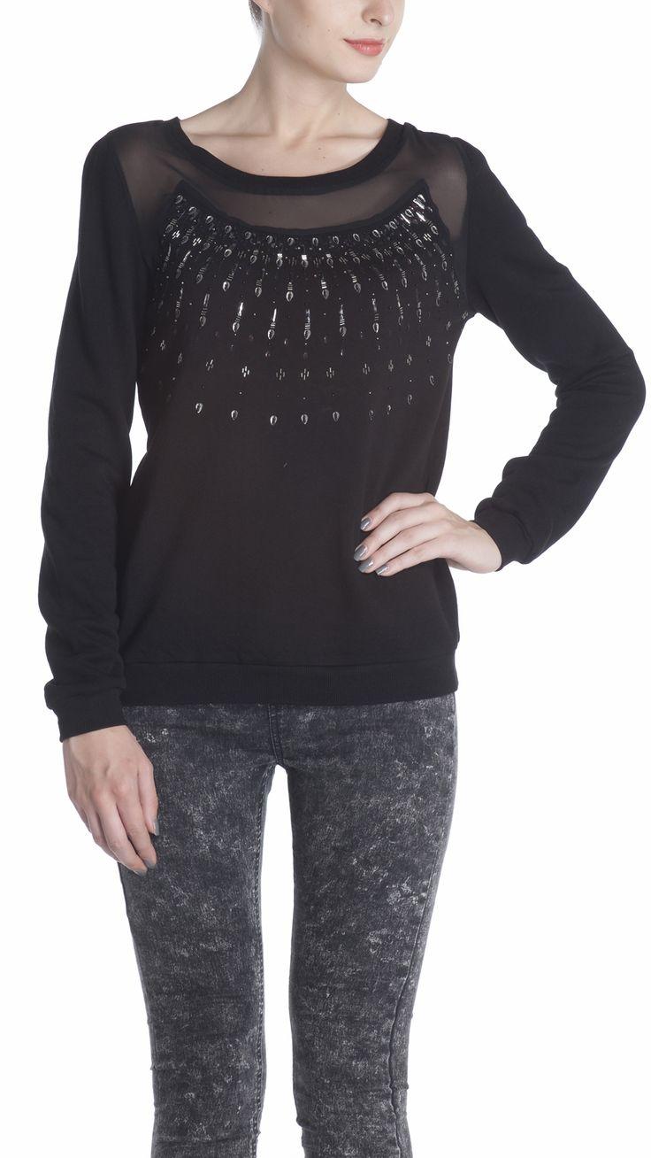 Embellished black sweatshirt, with peek-a-boo Georgette front yoke, and ribbed waist band and sleeve hem. Full sleeve sweatshirt