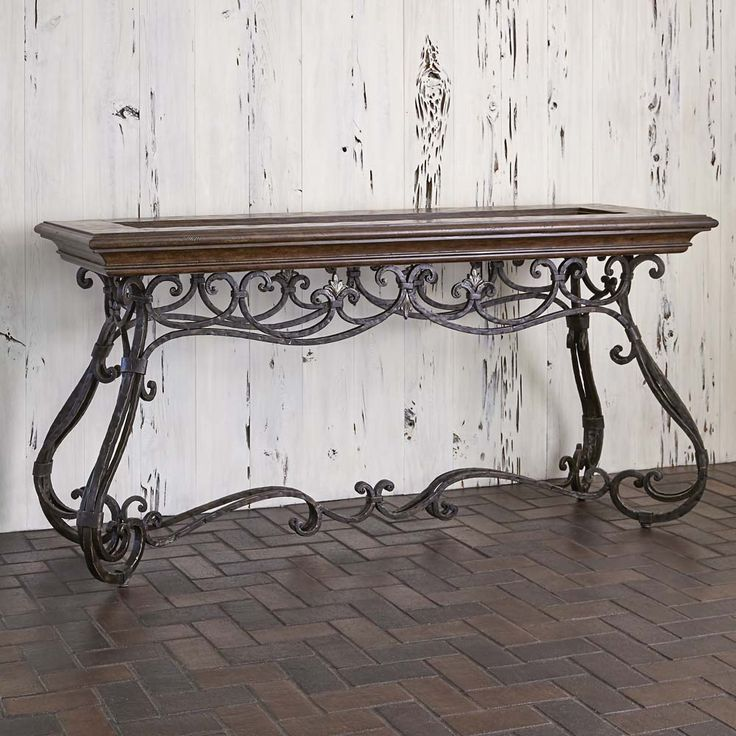 Elegant Montego Forged Iron Console Table Western Sofa Tables   Add A Touch Of  Grace To Your