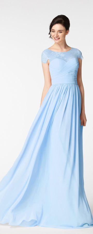 Light blue modest prom dresses cap sleeves long prom dress
