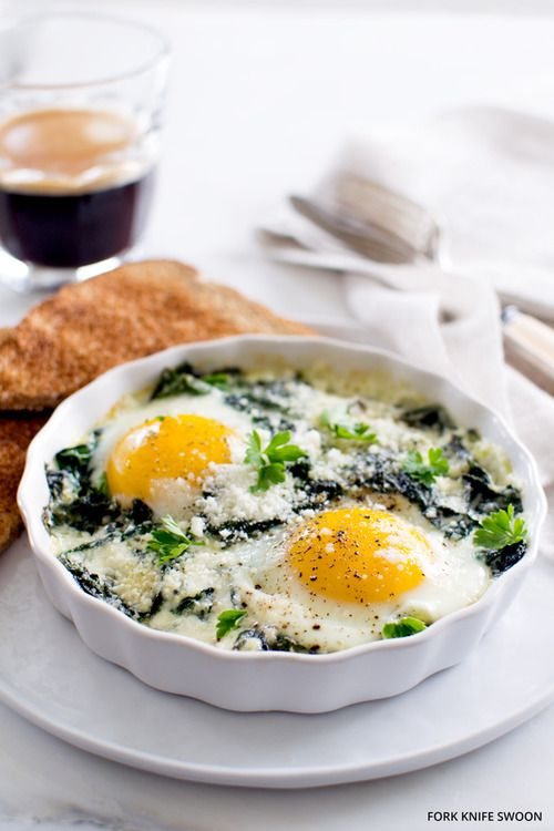 Baked Eggs with Spinach and Swiss Chard | Eat & Recipe | Pinterest