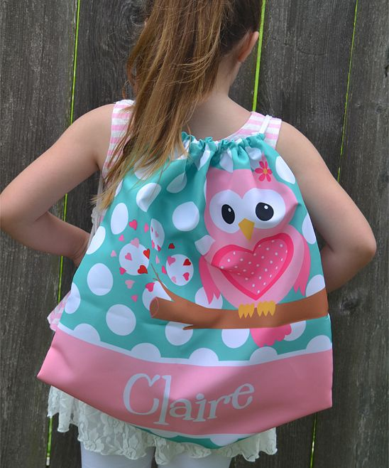 Sweet Owl Drawstring Personalized Backpack