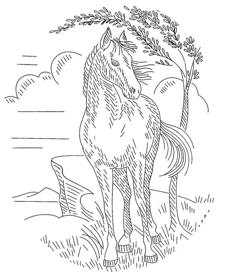 Hand Embroidery Pattern Design 614 Horses for Pictures or