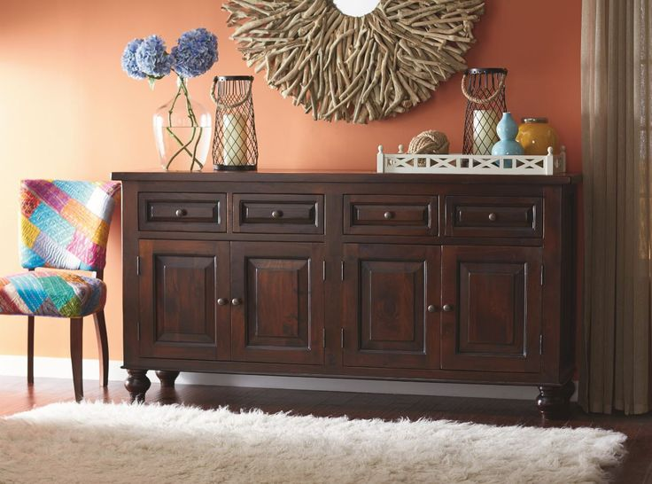 This sideboard is made entirely of solid mango wood and finished with a moisture resistant lacquer.