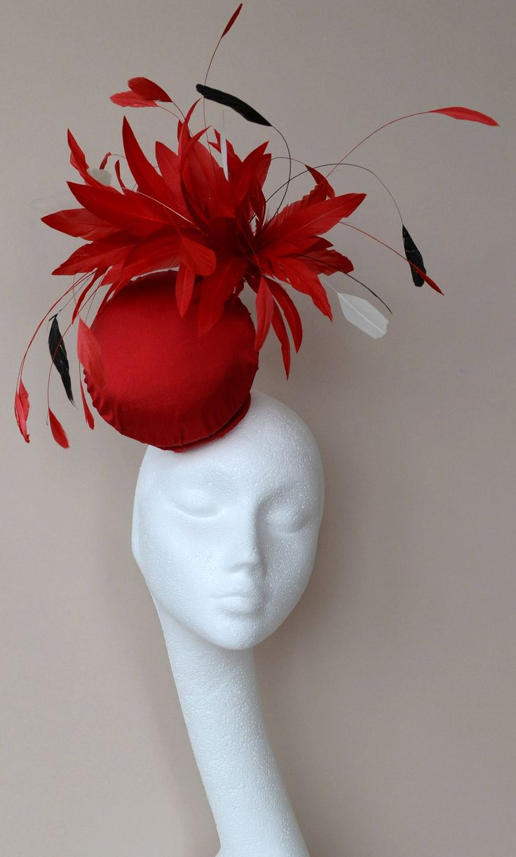 Red Percher Hat With Black And Ivory Feathers Silk