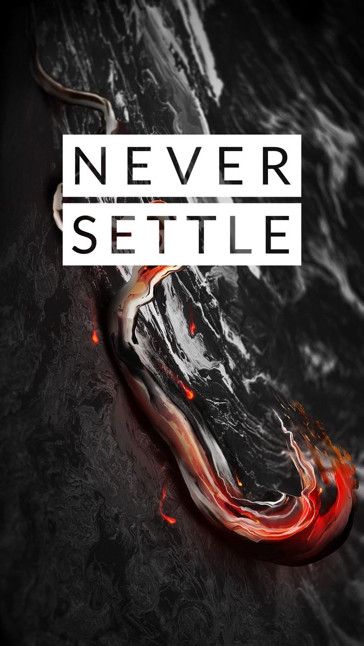 """Download OnePlus themed """"Never Settle"""" wallpaper in midnight black color in 1080×1920 resolution. Download OnePlus 5 Wallpaper."""