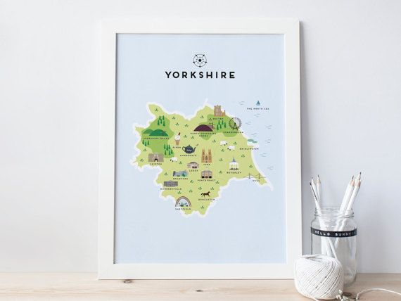 An unframed illustrated map of Yorkshire on white 270gsm paper. Featuring notable places and names, national parks and historical landmarks. This print would be perfect for a Yorkshire friend or family member or just anyone who loves Yorkshire!  The following places are featured: North Yorkshire Moors, Whitby, Scarborough, Bridlington, Yorkshire Dales, Ripon, Harrgoate, York, Leeds, Skipton, Beverley, Hull, Sheffield, Huddersfield, Doncatser, Bradford & Pontefract.  YORKSHIRE MAP PRINT DI...
