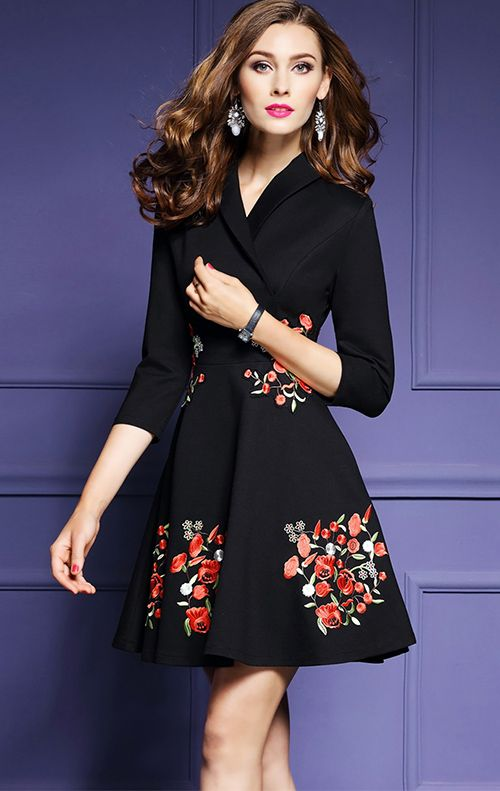 cbd71c35aa Women s Going out Casual Daily Plus Size Vintage Street chic Skater  Embroidered V Neck Dress