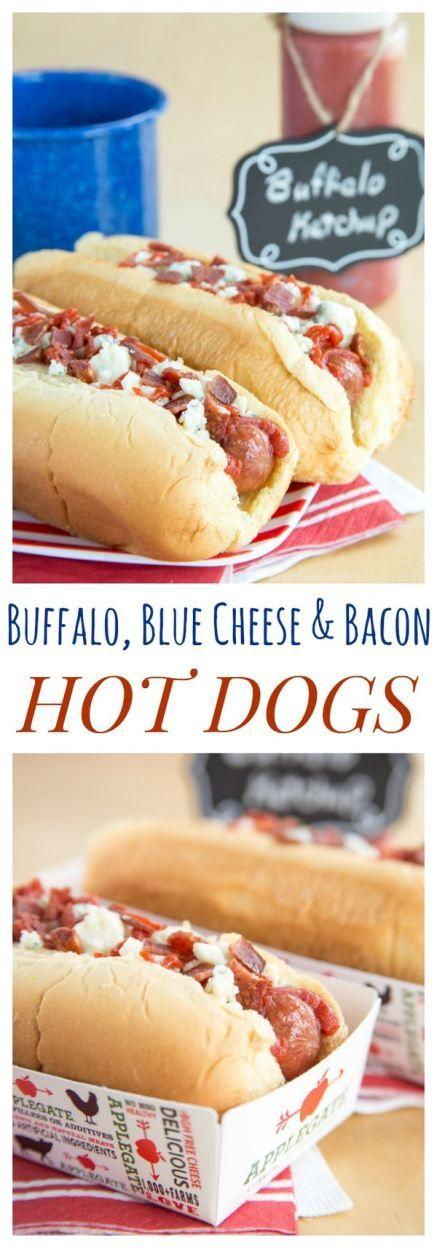 Buffalo, Blue Cheese, and Bacon Hot Dogs - add a spicy kick and a ton of flavor to the classic hot dog. Your barbecue will never be the same! | cupcakesandkalechips.com