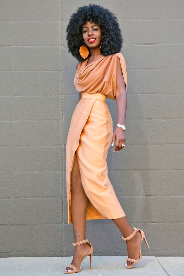 Style Pantry | Cowl Neck Blouse + Tan Front Slit Midi Skirt