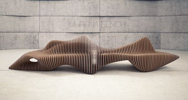 """chrisbmarquez: """" Collection """"Parametric furniture"""" by Oleg Soroko Is a project which includes several elements, one of them is a """"MURENA BENCH"""". Bench made of plywood sections 18mm thick, fastened..."""