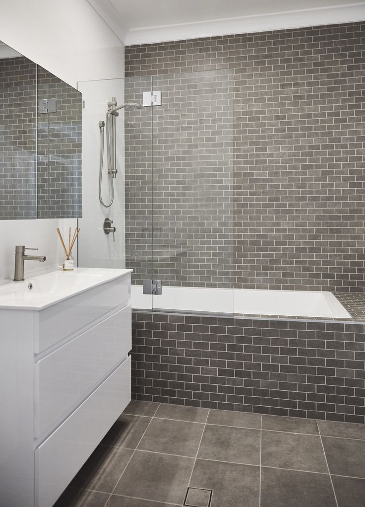 Modern bathroom, Mosaic, Feature tile, White and grey bathroom, gunmetal taps, brushed tapware, bathroom ideas,