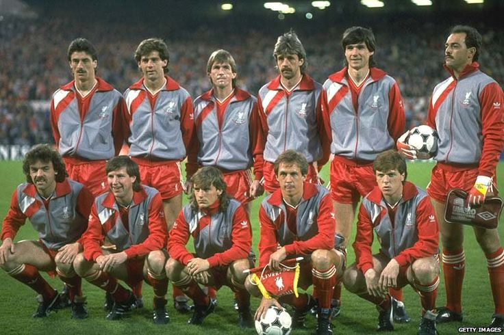 Liverpool lineup before the European Cup Final v Juventus at the Heysel Stadium in Brussels, May 29, 1985.