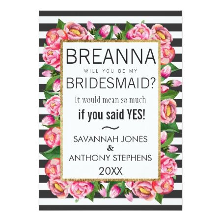 Pink Watercolor Flowers and Stripes Bridesmaids Card - tap to personalize and get yours
