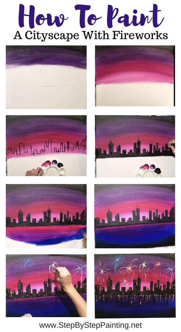 Cityscape Painting With Fireworks Step By Step Acrylic Tutorial