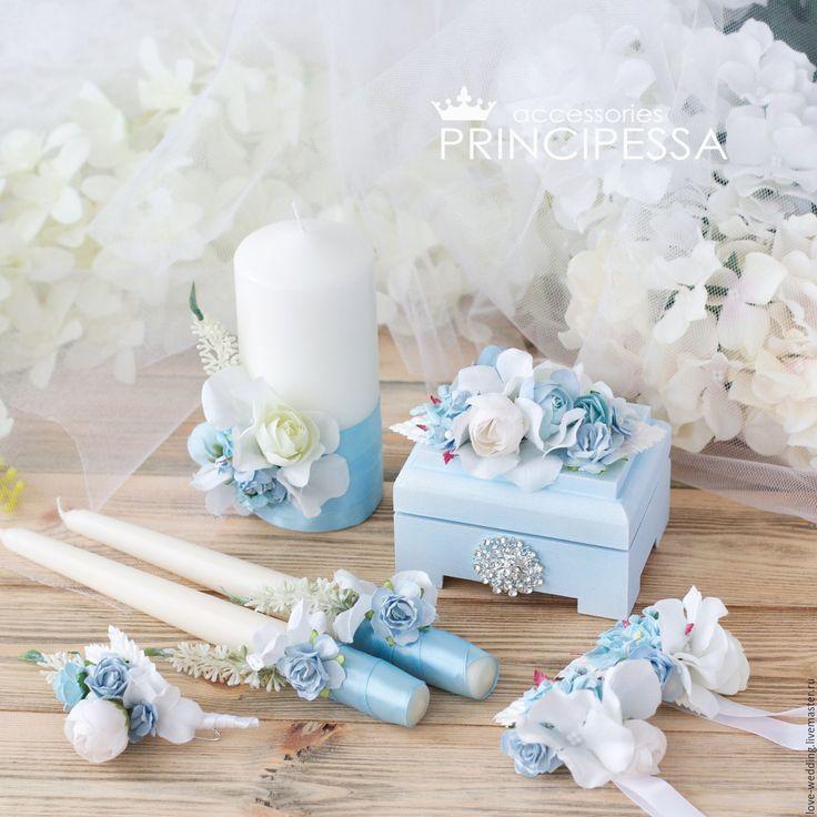 """""""Голубые цветы"""" свадебный набор – купить или заказать в интернет-магазине на Ярмарке Мастеров   Свадебный набор 2016 года.<br /> Возможен…"""
