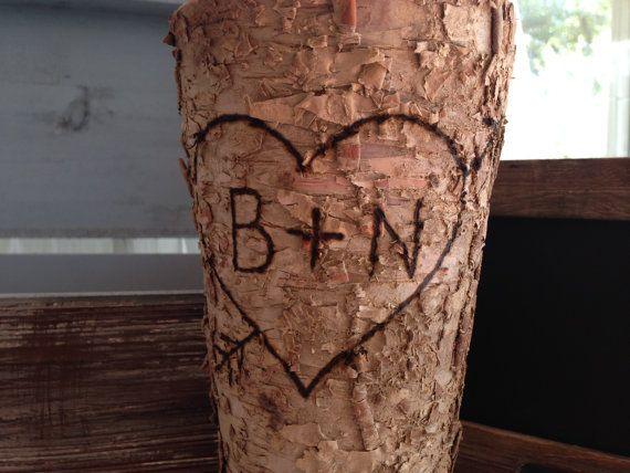 Birch Vase-rustic vase-personalize vase-custom-monogram vase-bark vase-wood-vase-wood vase-birch-rustic-wedding-bridal-decor-wedding