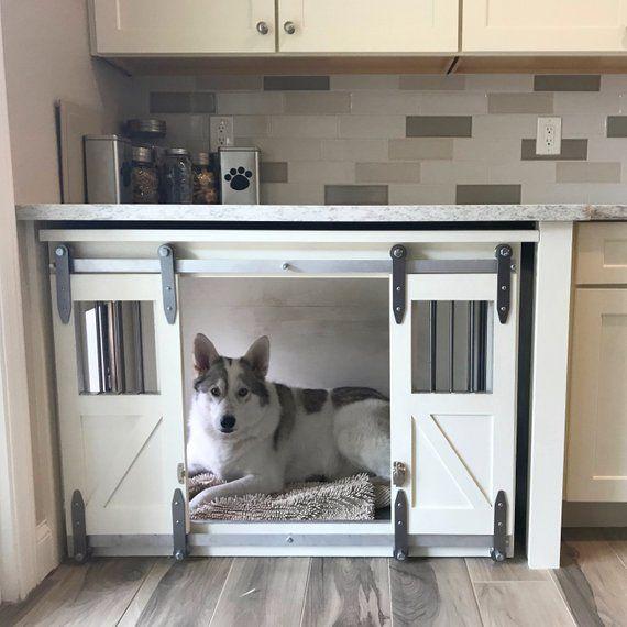 Rustic Dog Crate Sliding Barn Doors Fully Custom Dog Etsy