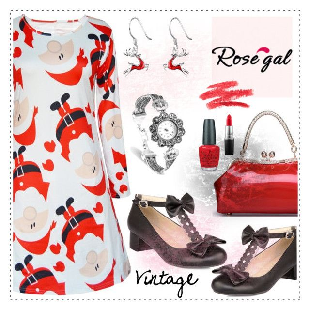 Win $20 Cash from Rosegal! by amisha73 on Polyvore featuring moda, MAC Cosmetics, OPI, vintage, red, jewelry, printed and rosegal