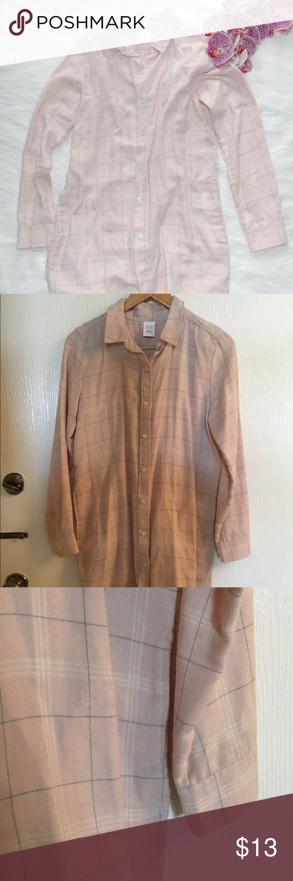 BP Long Flannel Shirt Pink and white/blue long flannel. Has pockets! Cotton/polyester blend. bp Tops Button Down Shirts