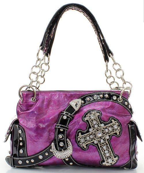 PURPLE RHINESTONE BELT BUCKLE CROSS WESTERN BLING PURSE HANDBAG |