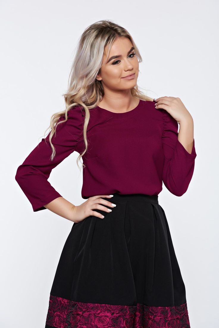 StarShinerS timeless romance purple casual elegant women`s blouse with wrinkled sleeves, women`s blouse, 3/4 sleeves, wrinkled sleeves, slightly elastic fabric, Timeless Romance