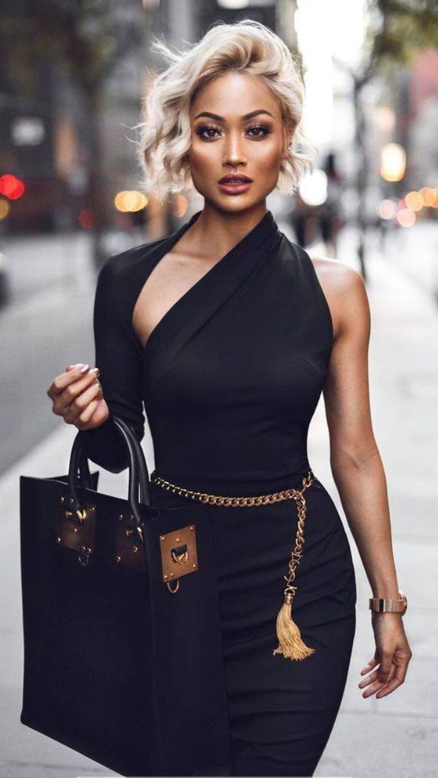 Black Sheath Dress Gold Chain Belt With Tassle Romantic Date Night