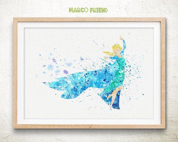 Disney congelés Elsa aquarelle Art Print par MarcoFriend sur Etsy