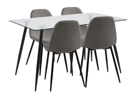 Walon Dining Table + Chairs - Trim and Toned. The Walon Dining Table + Chairs has some serious muscle in the style department! As well as an amazing price!  Table has Glass top with Black metal legs. Chairs have matching legs and Sweatshirt Grey fabric.