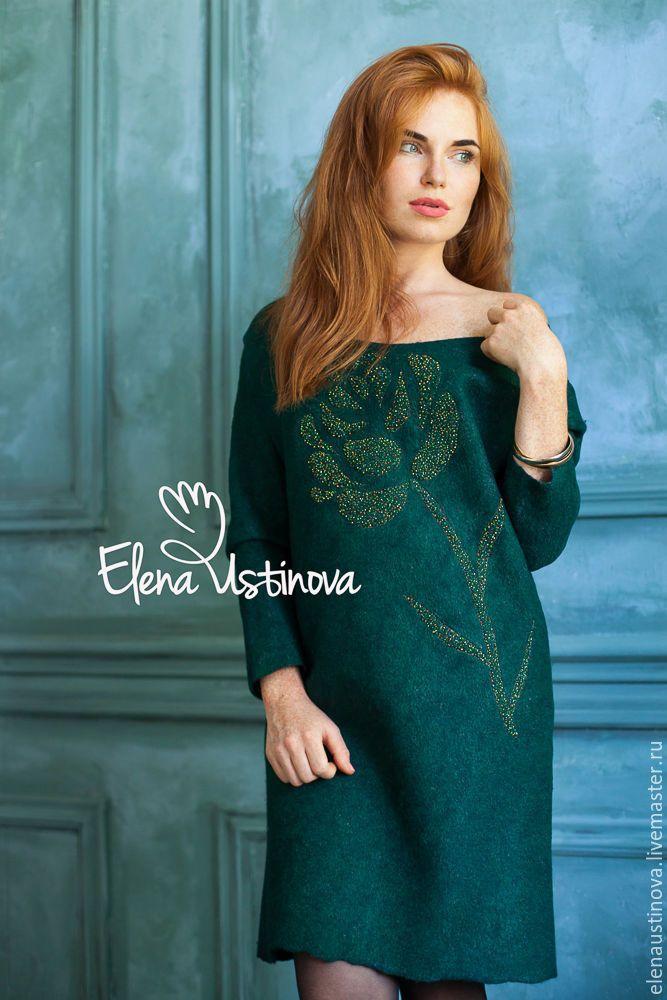 """Купить Валяное платье """"Lush Meadow"""" - тёмно-зелёный, цветочный, Вышивка бисером, платье"""