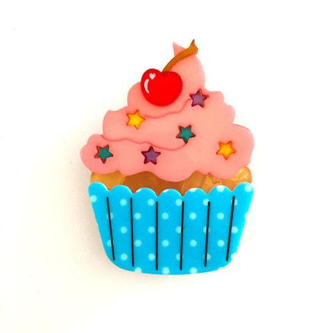 """Erstwilder Limited Edition Cherry on Top Brooch. """"The perfect (Erstwilder) picnic could not be complete without a cherry-topped cupcake. Doesn't this one look delicious?"""""""