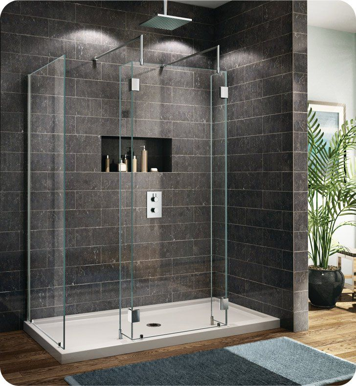 Fleurco V6302 25 40l H 79 Evolution 6 Walk In Shower Enclosure With 1 Side Glass Panel V6302 With Hardware Finish Brushed Nickel And Glass Type Clear Glass A Walk In Shower Enclosures Shower Enclosure