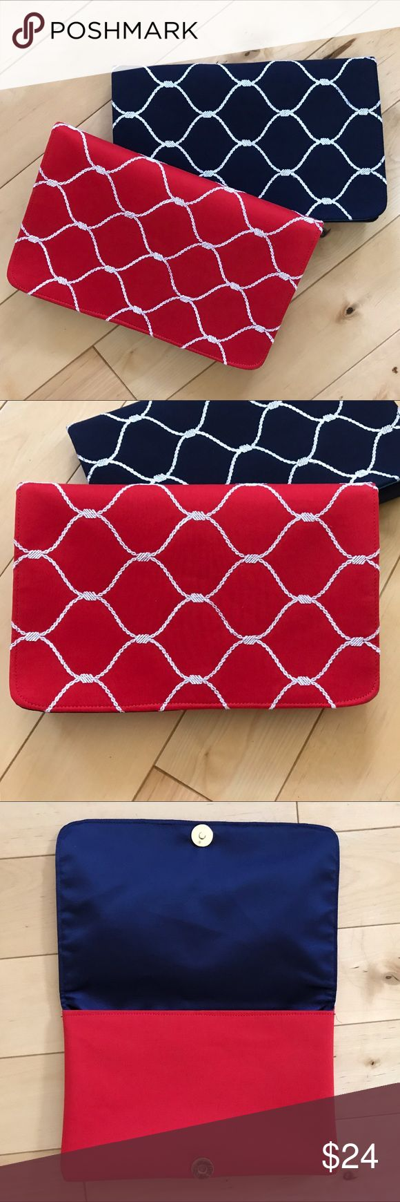 """Shiraleah Red Nautical Clutch Bag Brand new! Measures 9"""" X 6"""". Sold at Anthropologie. Red bag with cute nautical rope pattern. Interior zip pocket. Anthropologie Bags Clutches & Wristlets"""