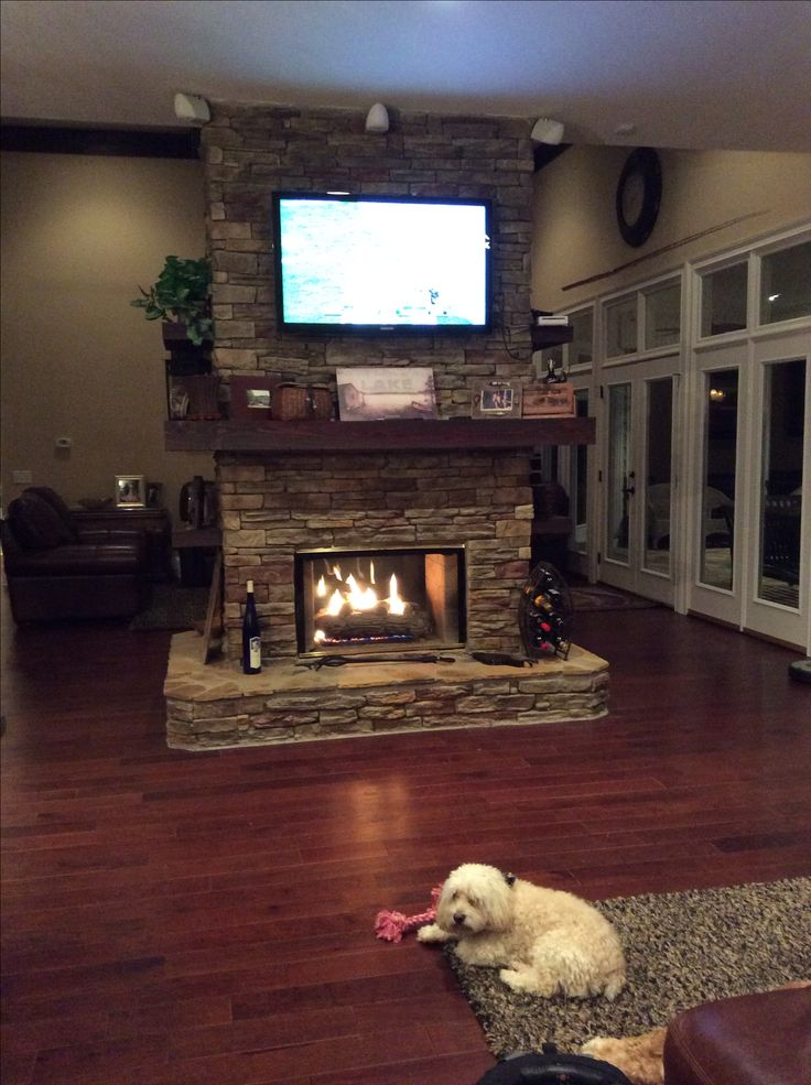 Stone double sided fireplace!