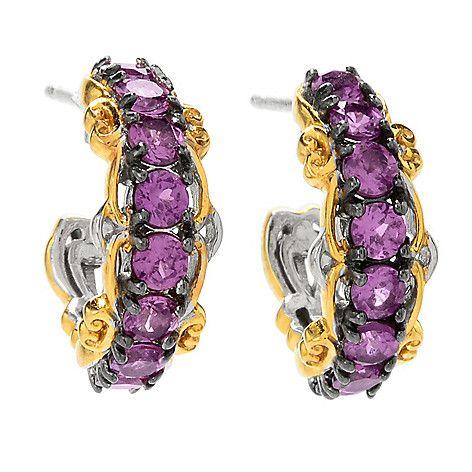 159-202 - Gems en Vogue 1.76ctw Color Change Purple Garnet Hoop Earrings