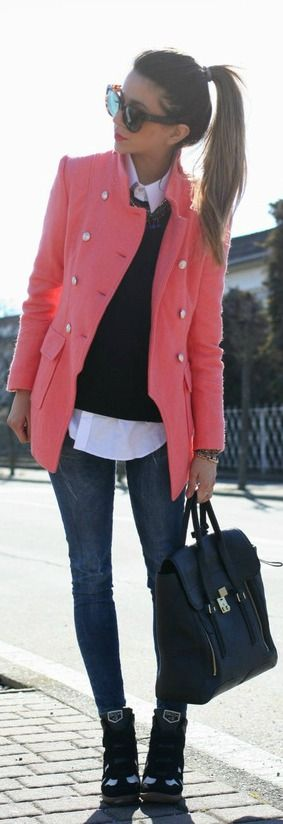 Pink coat, black top, white Oxford button down, denim jeans, ankle boots