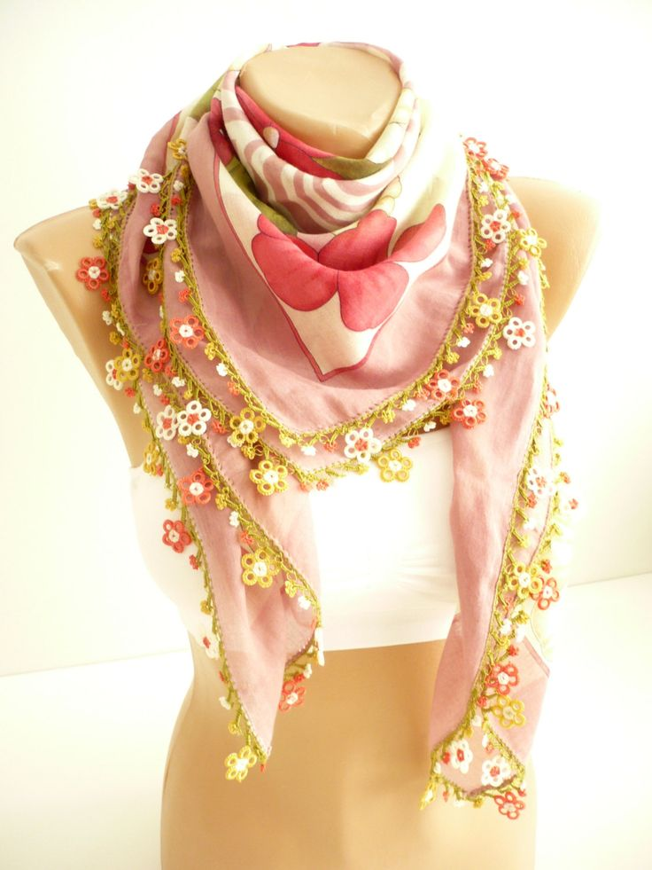 mother's day gift / light pink Turkish scarf / ethnic kerchief / floral printed foulard / traditional lace art: oya / organic cotton fabric by TurkishAccessories on Etsy
