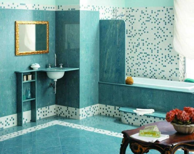 Beautiful And Simple Designs Mosaic Tiles With Turquoise Tile Wall And  Floor Simple Floating Sink Part 91