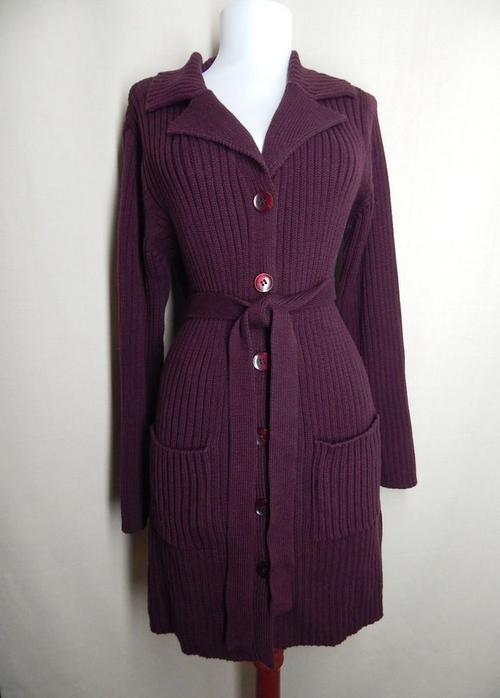 Style & Co Size M Purple Ribbed Long Cardigan Sweater Belted #StyleCo #Cardigan
