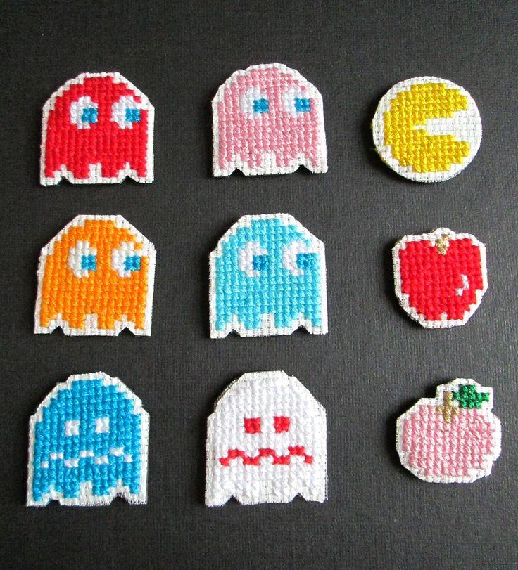 Pacman Cross Stitch Magnets Set of 9 www.etsy.com/shop/lizkingcraft