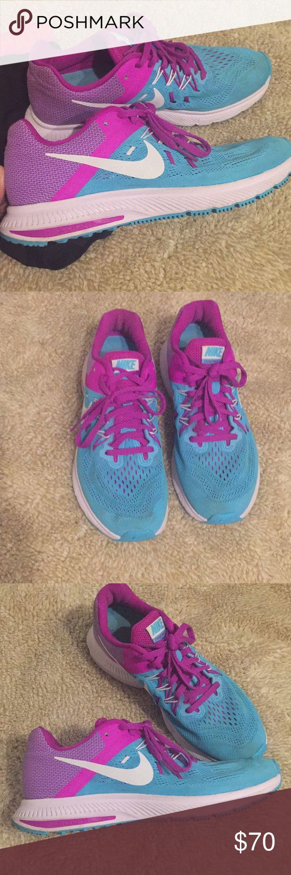 Super cute Nike Zoom Shoes🏋 Size 8 sky blue Nike Zoom Shoes, normal wear and tear but great used condition :) Nike Shoes Sneakers