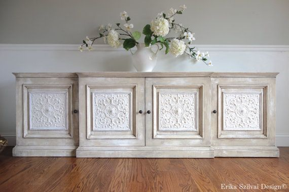 Sold ornate vintage hand painted french country antique for French antique white kitchen cabinets