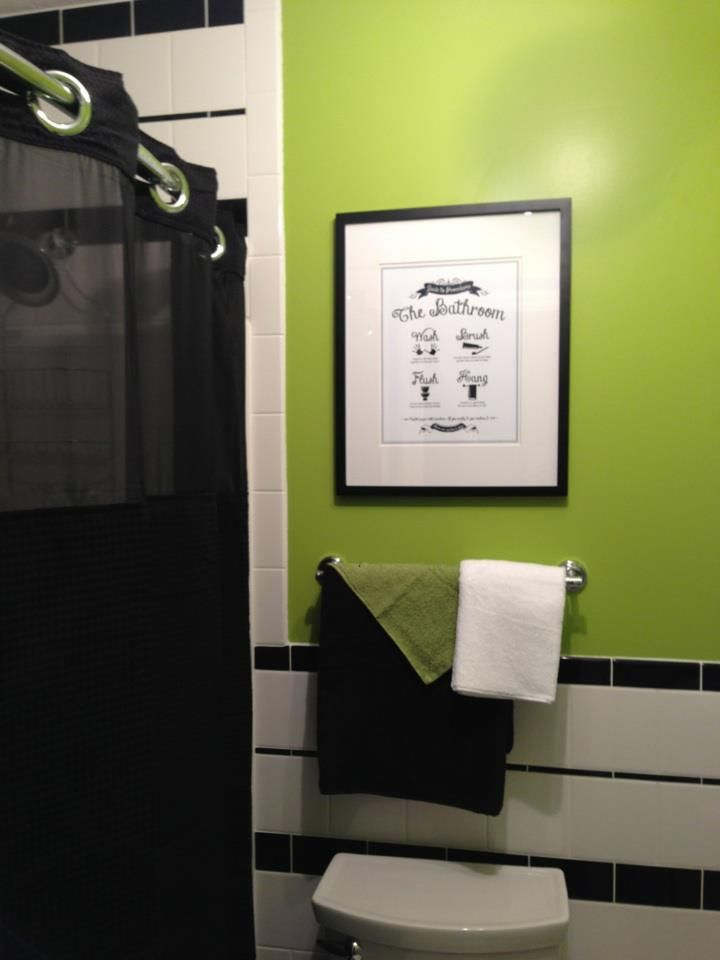 Black And White With Lime Green Bathroom