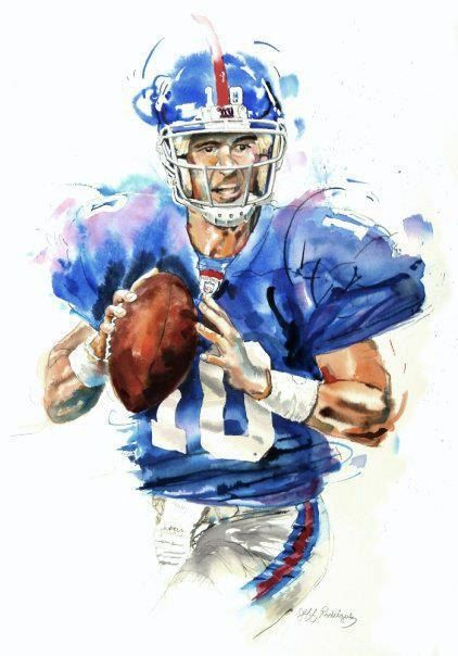 Watercolor portrait painting of New York Giants football player Eli Manning- giclee from original. $60.00, via Etsy.