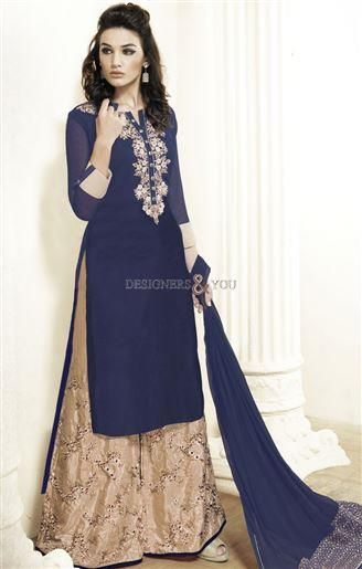 #Designer #salwar #kameez #embroidered blue top plus size #Designer_salwar_kameez highlighted by its embroidered allures for #modern #chic and the blue #ladiestop is also offered in plus size for mature woman in current spell. When you need something matchless in cultural outfit, we are here to deliver you so go with this long length ladies shirt and #Pakistani_Plazzo bottom for triumph stare.