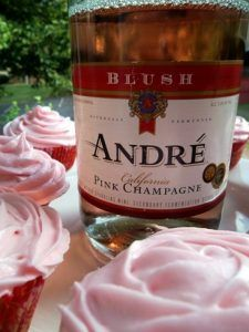 Pink champagne cupcakes to celebrate a wedding. Admittedly, cheap champagne was involved.