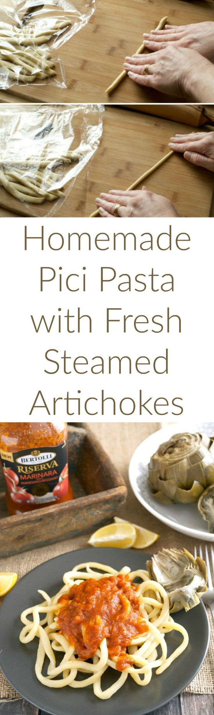 #AD Homemade pici pasta with Bertolli Riserva Marinara and fresh steamed artichokes. A meatless monday meal to welcome spring. #vivabertolli