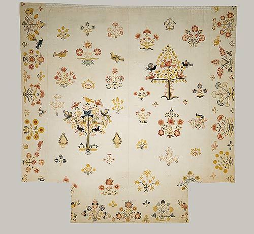 Embroidered coverlet, 1770  Mary Breed (American, 1751–?)  Probably New London County, Connecticut  Linen and cotton with wool embroidery
